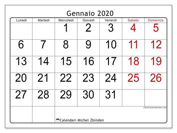Mini Calendario 2020 Da Stampare.Calendario Gennaio 2020 62ld Calendario Calendario