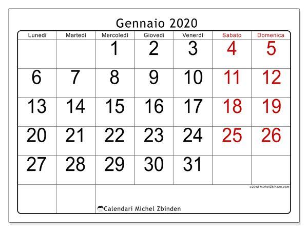 Calendario Gennaio 2020 Da Stampare.Calendario Gennaio 2020 62ld Calendario Calendario