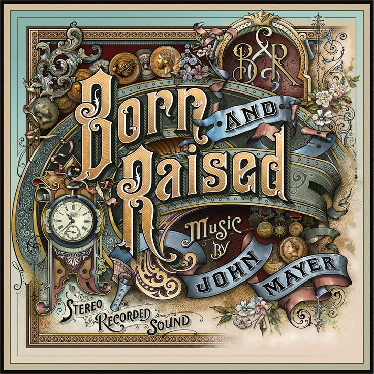 """John Mayer's new album """"Born and Raised"""" cover by David Smith check out his website: http://davidadriansmith.com The entire thing was hand drawn before scanned piece by piece due to the size some process photos here: http://www.handletteringforum.com/forum/viewtopic.php?f=2=3252"""