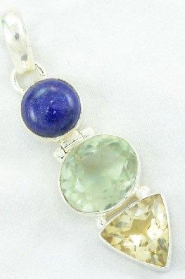 Amazon.com: Lapis, Green Amethyst, Citrine 925 Silver Jewelry Handmade Pendant: Jewelry