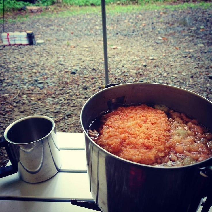 朝食はコロッケ蕎麦 #ソロキャンプ #蕎麦 #コロッケ