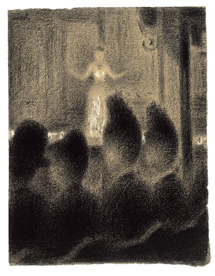"""Above: Georges Seurat. At the Concert Europeen (detail). c. 1886–88. Conte crayon and gouache on paper, 12 3/4 x 9 3/8"""" (31.1 x 23.8 cm). The Museum of Modern Art, New York. Lillie P. Bliss Collection, 1934"""