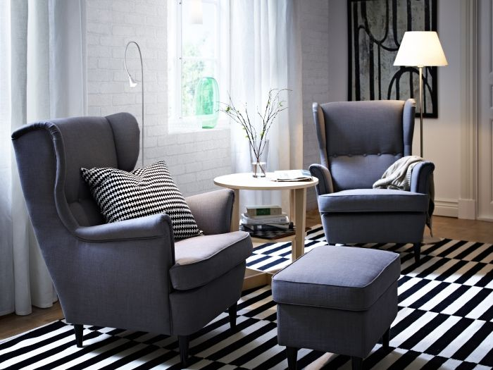 IKEA STRANDMON & ottoman, the ultimate arm chair; Great wing backs alternative to recliner