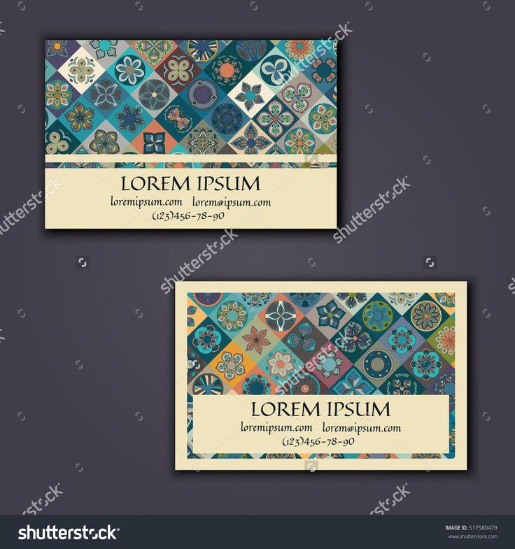 vector business card design template with ornamental geometric mandala pattern vintage decorative elements hand