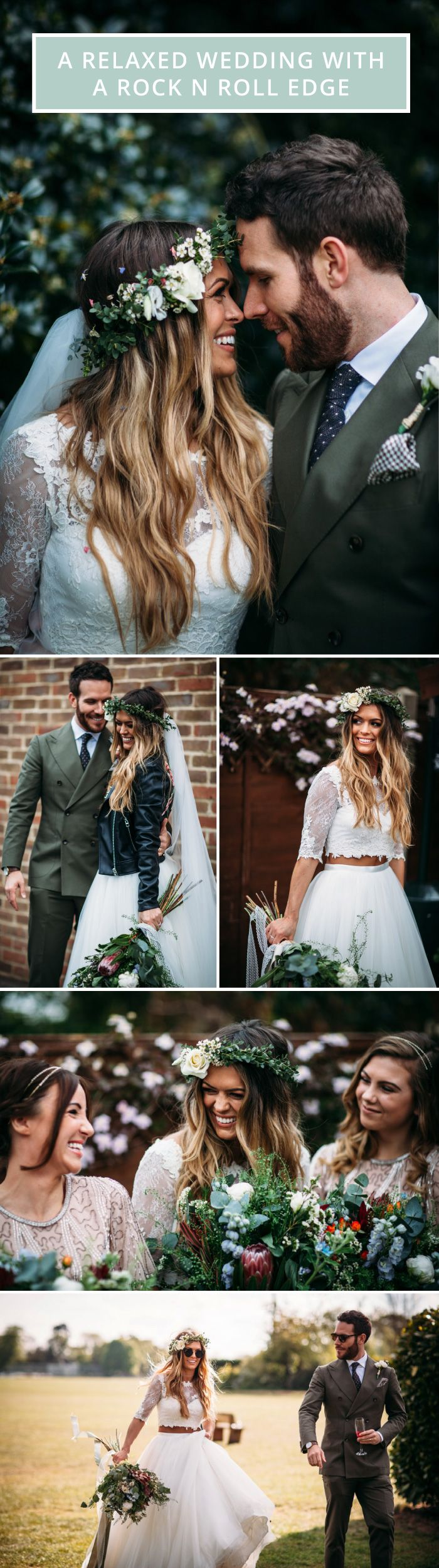 A laid back wedding without a theme | foliage bouquet | bride in a leather jacket | groom in tweed suit | bridal flower crown | rock n roll wedding | Ombre hair | Long bridal hair | Celebrity wedding | Take Me Out wedding