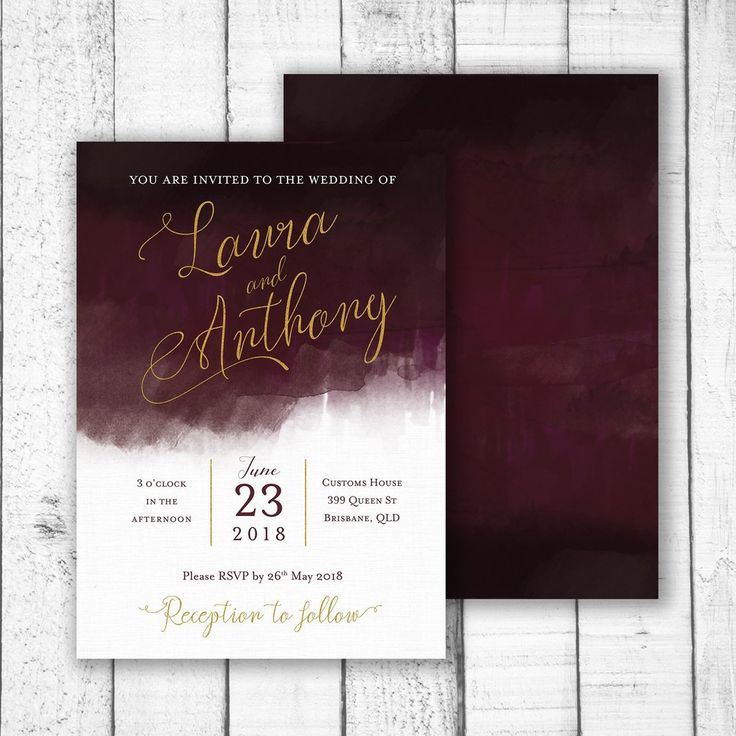 Luxe Watercolour Invitation - Customised to with your name and event information. Not just for weddings, this invitation can be customised for any event, birthday, engagement, bridal shower, graduation, staff party, new years eve, end of year party or any event.   size  A5 148 x 210mm (Recommended size for Wedding invitation)  or   A6 105 x 148mm  colours & fonts   Background and font colours can be changed upon request. All fonts can be changed upon request.  printing