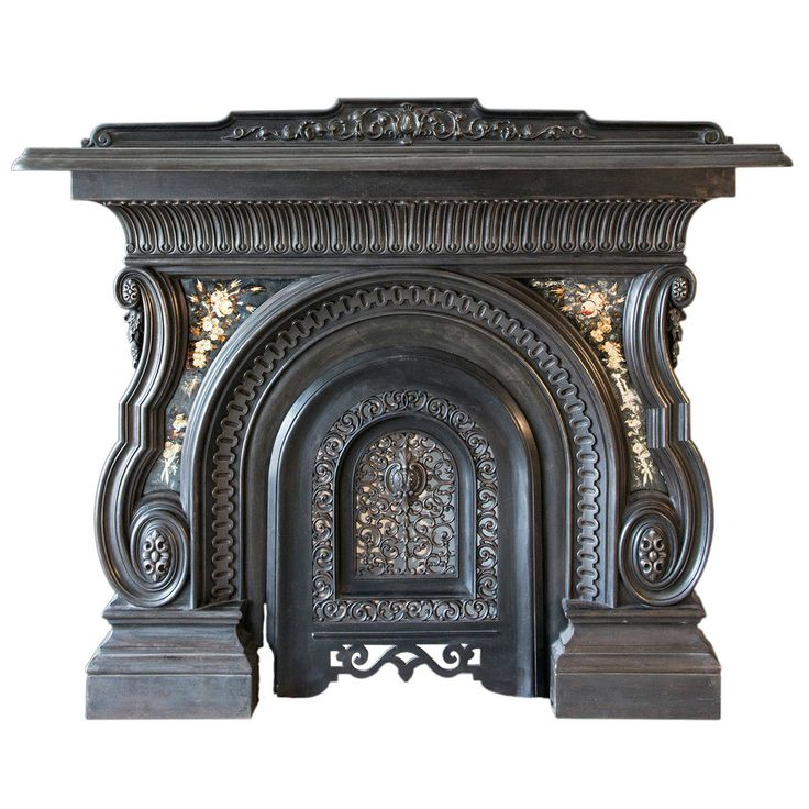 19th Century Cast Iron Victorian Mantel And Grate