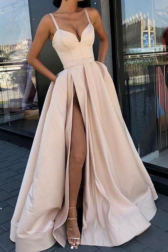 Spaghetti-Trägern Elegante Slit Fancy Prom Dresses Formale Abendkleid Mit Tasche LD1737