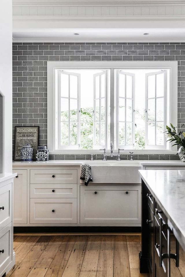 Classic kitchen with grey subway tile. Friday's Favourites, Gallerie B blog.