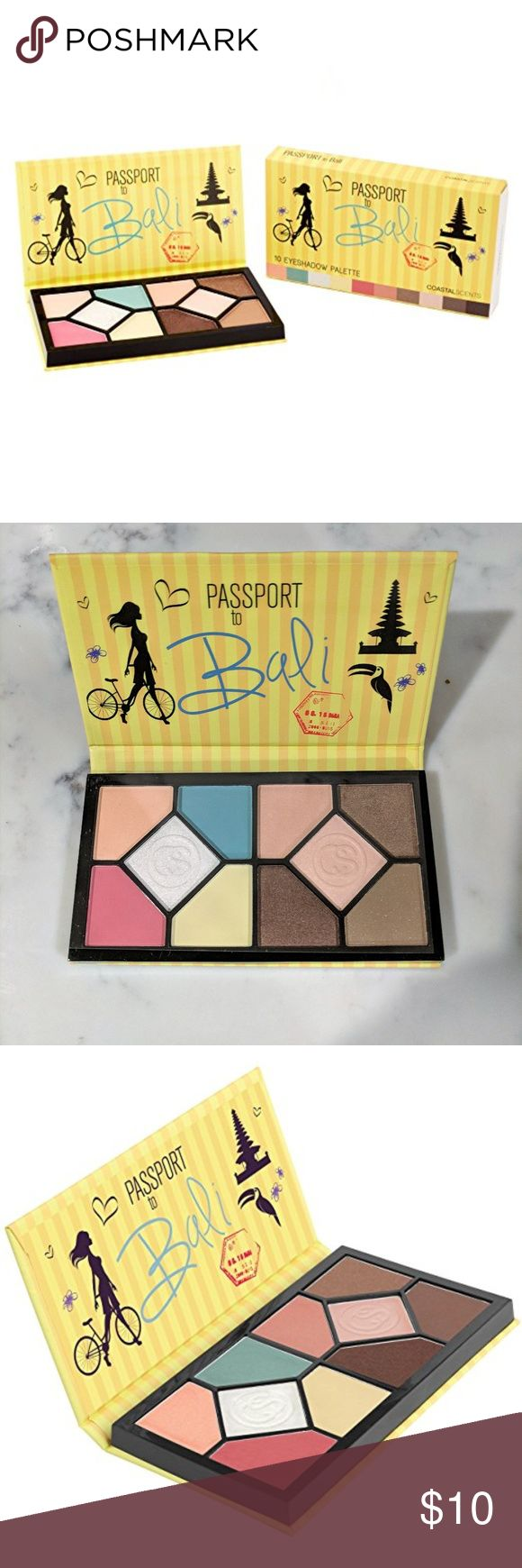 Coastal Scents Passport to Bali Eyeshadow Palette Escape to the enchanting temples, lush vegetation, and rich culture of this exotic island destination.  10 customizable eyeshadow colors  Convenient and portable palette  Includes beautiful matte and shimmer shadows Coastal Scents Makeup Eyeshadow