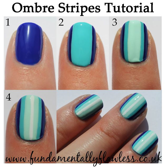 Blue Ombre Stripes Nail Art Tutorial- normally I hate this whole ombré thing, but this is actually a pretty good idea!