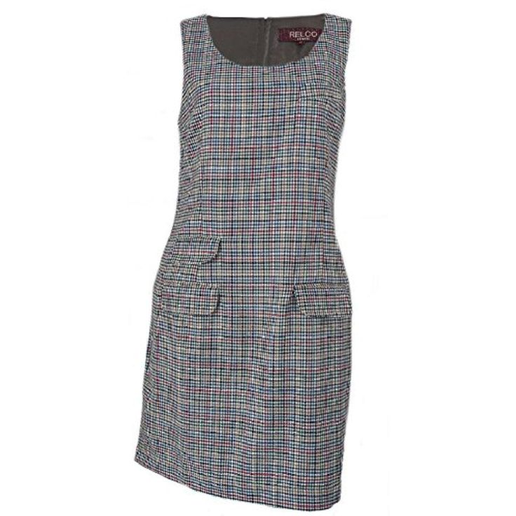Multi-Coloured Tweed Check Relco Mod Pinafore Retro/Vintage Shift Dress - Brought to you by Avarsha.com