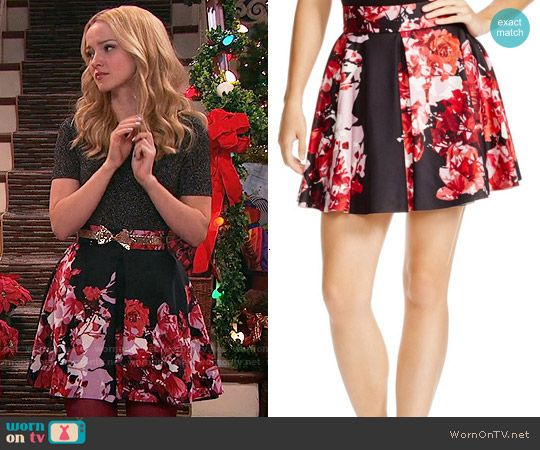 Liv's black and pink floral skirt on Liv and Maddie.  Outfit Details: http://wornontv.net/54675/ #LivandMaddie