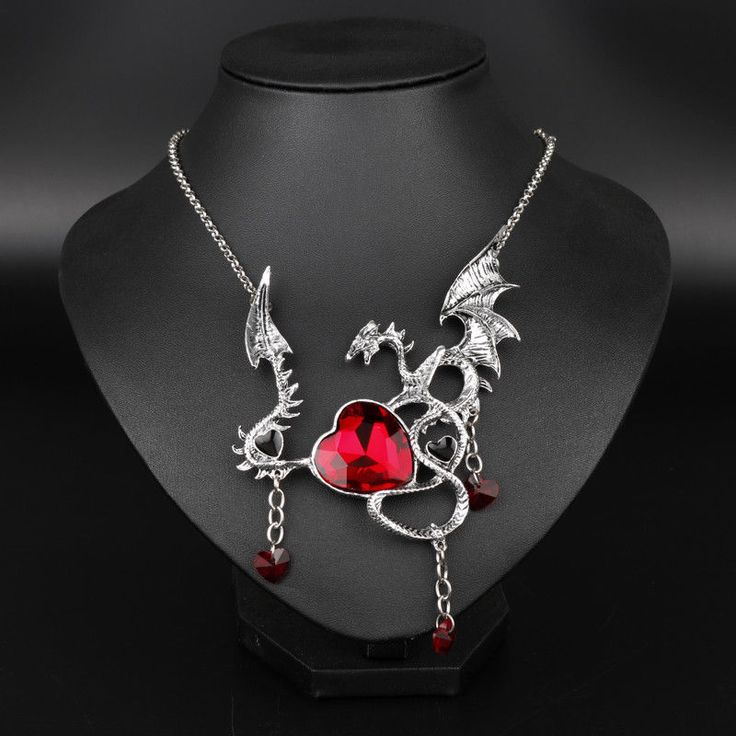 Gothic Game Of Throne Necklace Dragon Pendant Choker Crystal Heart Necklace #dongshengjewelry