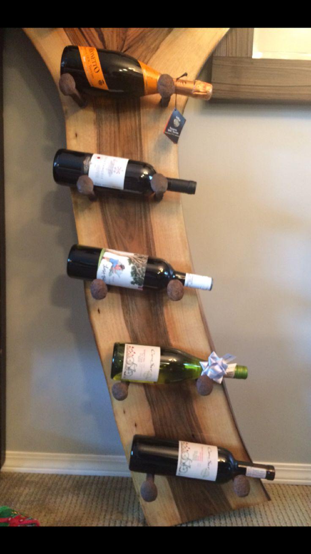 Black walnut Live Edge wine rack with railroad spikes