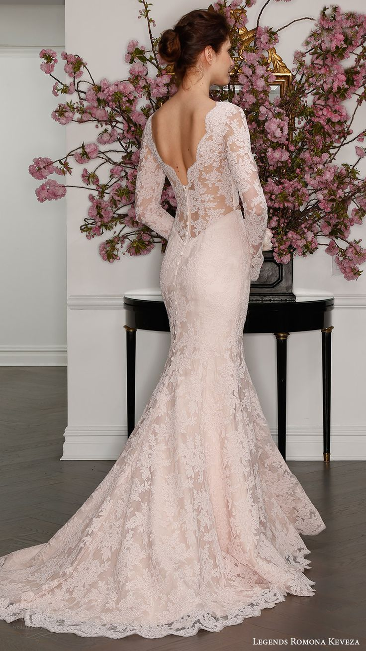Classic Trumpet Wedding Dresses : Pink wedding dress blush lace and shapes
