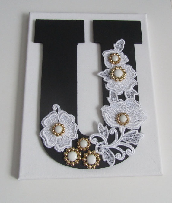 Wooden Letter with Buttons on Canvas - Monogram Wall Art