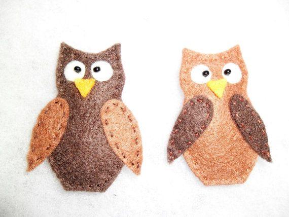 Handmade felt brooch  owl. Dark and light owls for by EmisaFelt