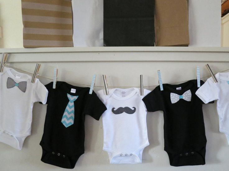 Baby Shower Banner, Onesie Banner, Mustache, Bow Tie, Baby Boy Clothes - Aqua Teal Gray Black - http://www.babies-clothes.info/baby-shower-banner-onesie-banner-mustache-bow-tie-baby-boy-clothes-aqua-teal-gray-black.html