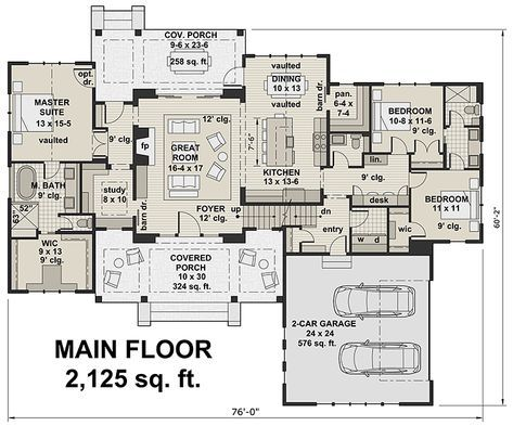 Country Farmhouse Southern Traditional Level One of Plan 42688
