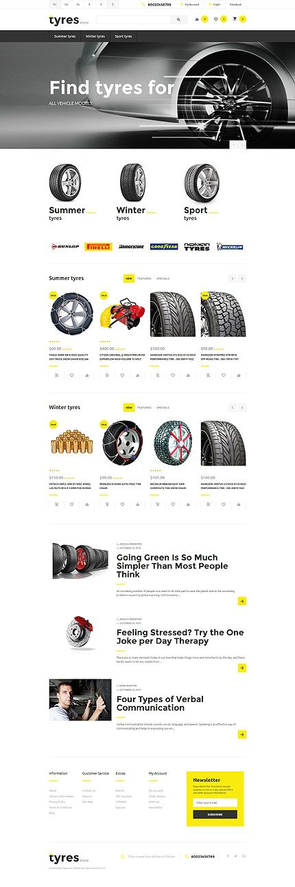 Car Tyres Online Store #OpenCart #webtemplate #themes #business #responsive #template