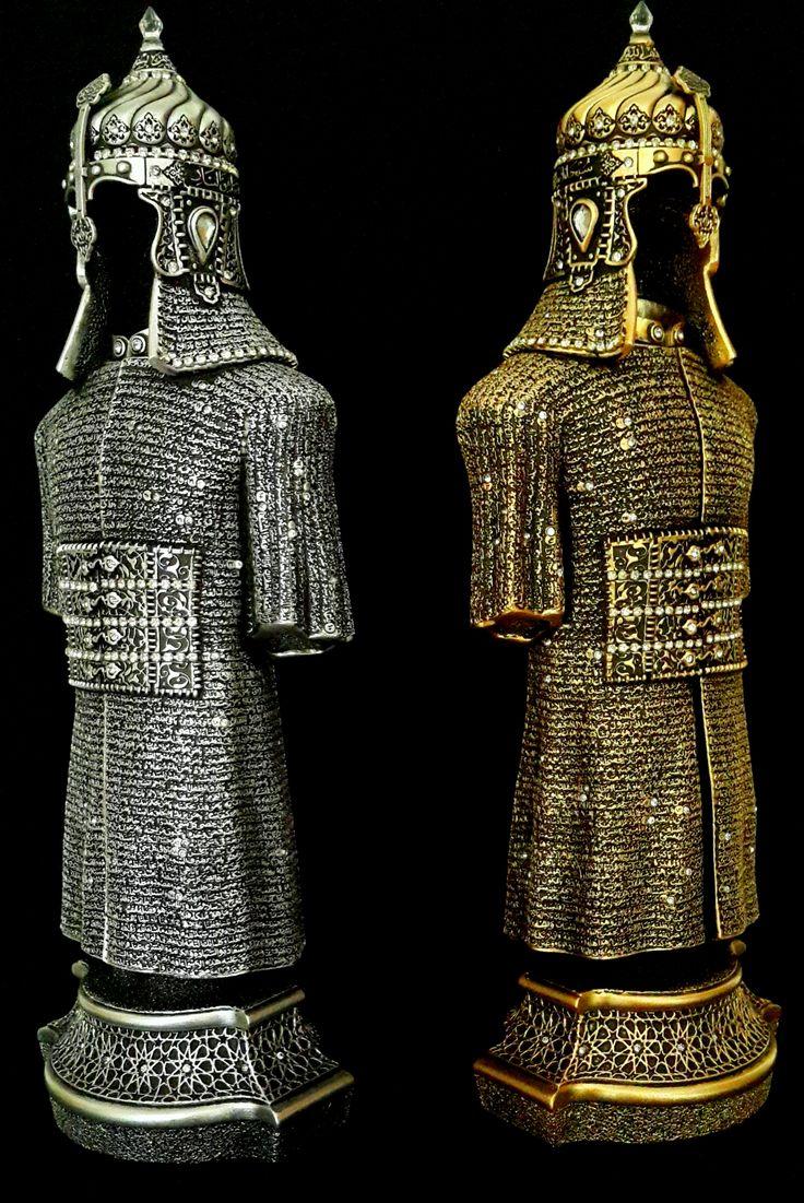 Cevşen - i Kebir Ayetli Osmanlı Askeri Zırh Biblo. Altın Varaklı, Gümüş , Kristal Taşlı, Özel Kadife Kutusunda, www.helalhediyelik.com