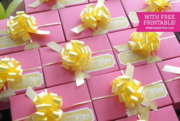 Bridal Shower Favor: Take-home Cake Pop Box with free