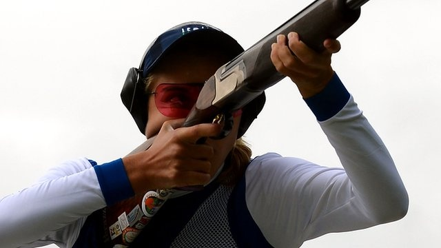 Jessica Rossi claimed a world record 99 out of 100 hits to win gold in the Olympic women's trap shooting at the Royal Artillery Barracks.