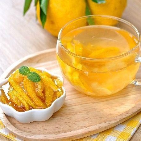 유자차 (Yujacha) is a traditional Korean tea (herbal tea) made from citron. Yuja fruit is thinly sliced with its peel and combined with honey or sugar, prepared as fruit preserves. The fruit is so prepared because of its otherwise sour and somewhat bitter taste.