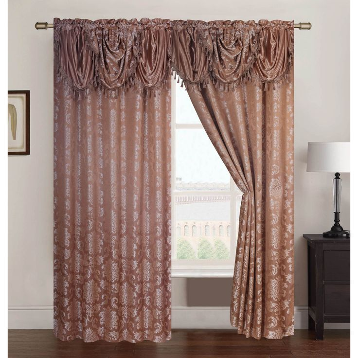 RT Designers Collection Wilton Jacquard 84 inch Double Rod Pocket Curtain Panel with Attached 18 inch Valance