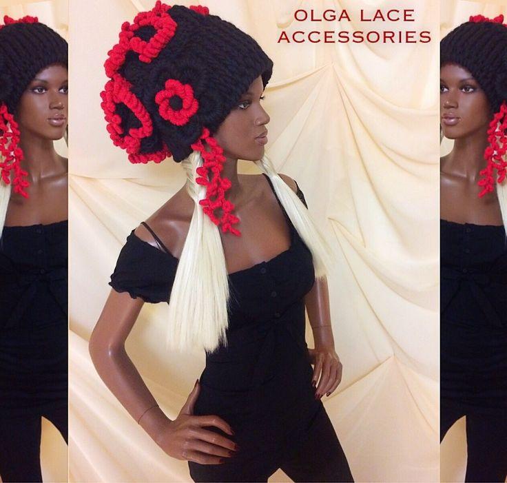 Купить Объёмная шапка оверсайз от Olga Lace - вязаная шапка, объемная шапка, черный, красный