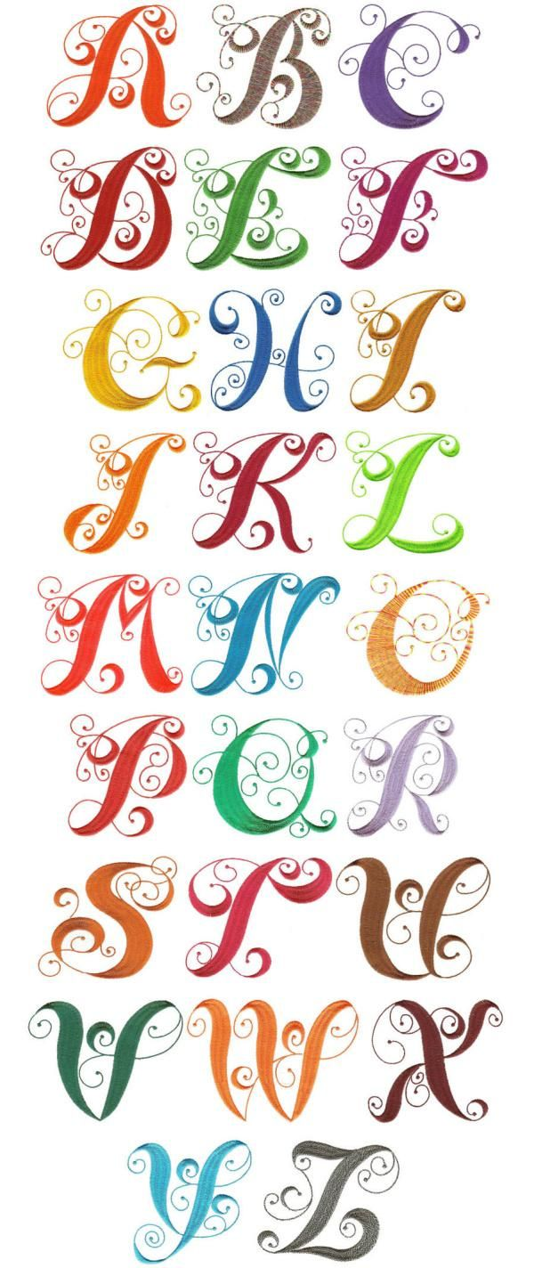 OregonPatchWorks.com - Sets - Elegant Curly Monogram Alphabet