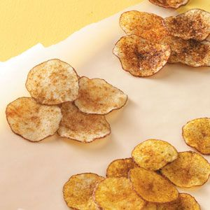 Fat Free Potatoes Chips!  I just bought the chip maker from Pampered Chef, but apparently you can simply use paper towels....