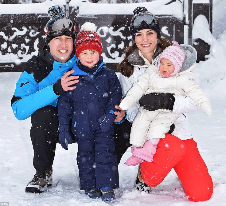 Family holiday: William and Kate were photographed with Prince George, two, and 10-month-old Princess Charlotte after flying their children out to a secret location. The Cambridges are the picture of happiness in a charming series of photographs taken on the slopes