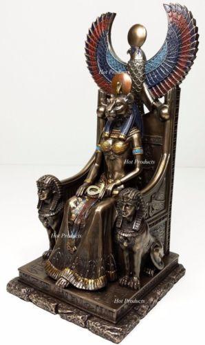 Egyptian-Goddess-Sekhmet-Sitting-on-Throne-Statue-Sculpture-Antique-Bronze-Color