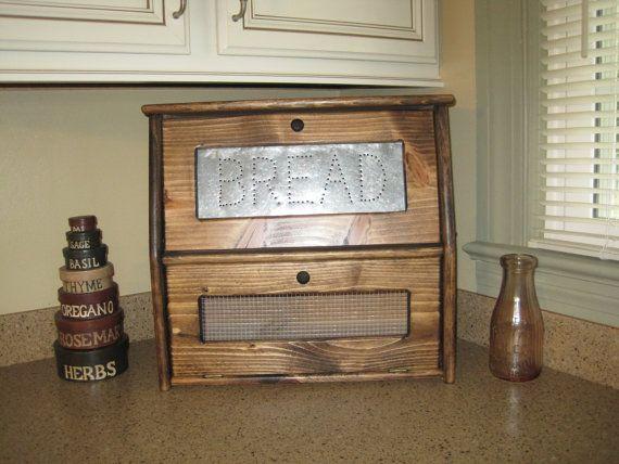 Rustic Bread Box Vegetable Bin Storage by dlightfuldesigns on Etsy, $69.00