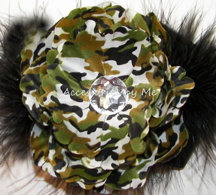 Camouflage Hair Clip Flower Embellished Green Brown Black Marabou Girls Accessories Wedding Party Glitz Pageant Army Dance Troops Recital by AccessoriesbyMe on Etsy
