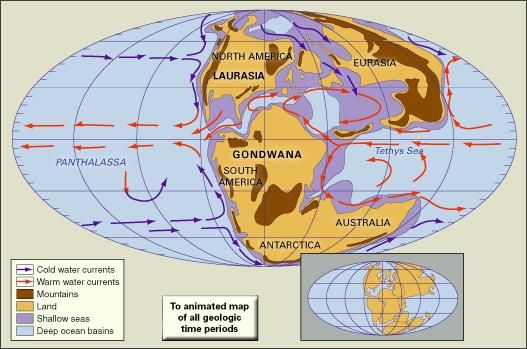Paleogeography and paleoceanography of Late Jurassic time. Present-day coastlines and tectonic boundaries of continents are shown in the inset at the lower right.