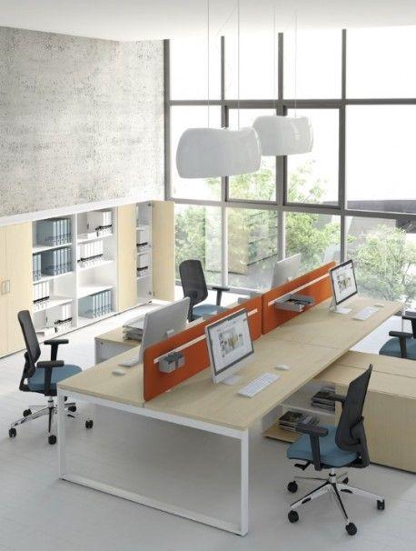 Bureau partagé RIO pour 4 personnes, plateau mélamine bouleau clair et pieds cadre fermé finition blanc, nombreuses combinaisons disponibles