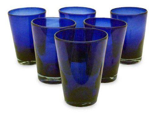 Drinking glasses, 'Cobalt Angles' (set of 6) by NOVICA,