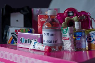 Inspiration for Cameron's Prom--->Survival Kit for prom guests.