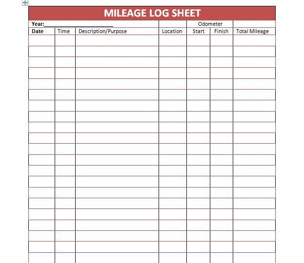 Mileage Log Template 05 Resume Pinterest Template