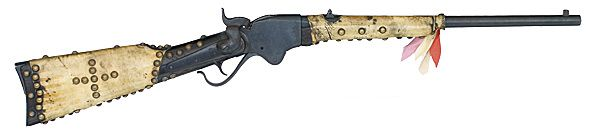 "SPENCER REPEATING RIFLE WITH LATER ADDED DECORATIVE INDIAN TACKS - .56-56 caliber, 20"" barrel, serial number 102608. Top of receiver stamped Spencer Repeating Rifle Co. Boston, Mass Patented March 6th, 1860."