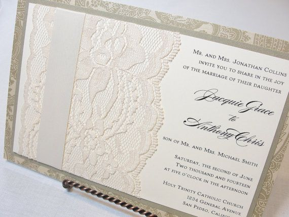 Items Similar To SOPHIA Real Lace Wedding Invitations On Etsy