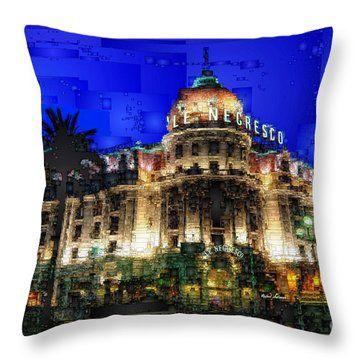 Le Negresco Hotel In Nice France Throw Pillow by Rafael Salazar