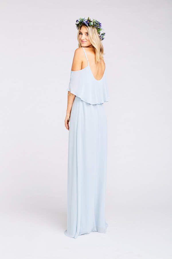 f41e18b732f0a Show Me Your Mumu Caitlin Ruffle Maxi Dress ~ Steel Blue Chiffon #Caitlin# Ruffle#Show