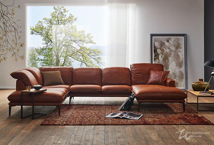 Sofa sherry 24600 in Leder Z83 Z 83, ein  gewachstes Anilin-Saddle-Leder, in der Farbe 50 Cognac