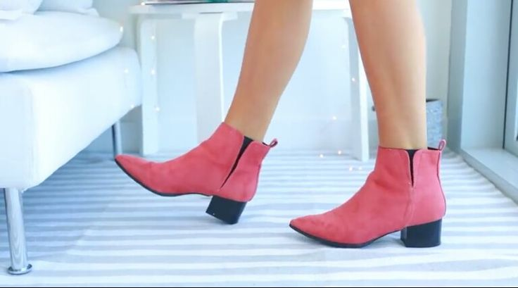 Cute pink ankle boots