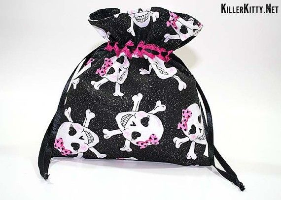 Girl Skulls Crossbones Horror Bones Drawstring Bag by KillerKitty