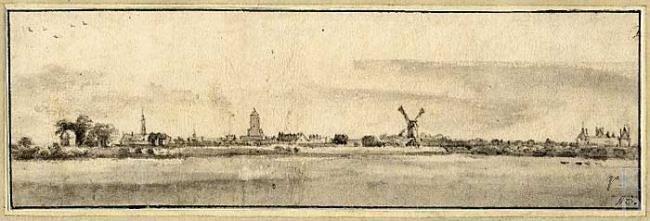 Roelant Roghman Gezicht op de stad Buren vanuit het noordoosten, met rechts het Huis Buren  Londen, British Museum, inv./cat.nr. 1875,0814....